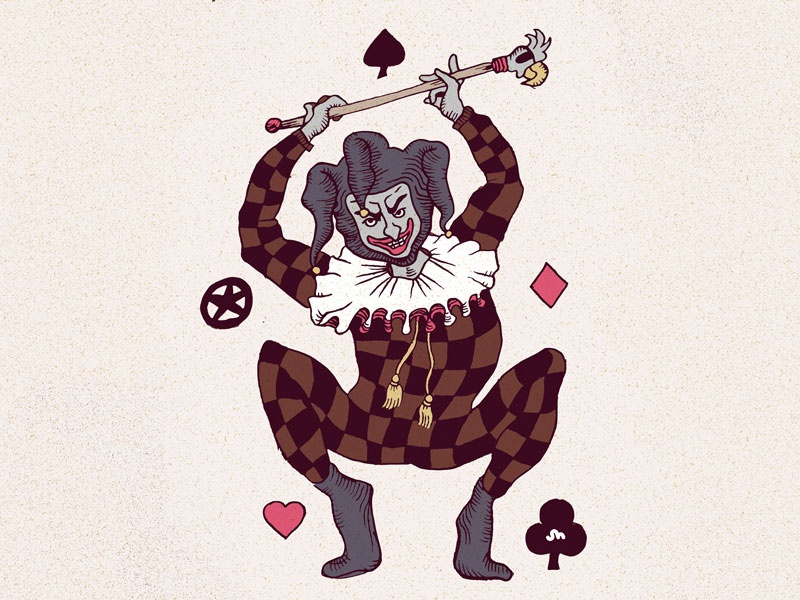 Joker eye patch bird playing card star clover heart diamond joker illustration