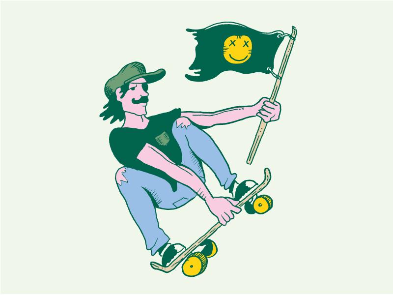 Happyning Flag shredding eye patch rip jeans cap skateboard flag illustration