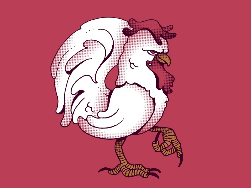 Coming Home To Roost halftones illustration chicken