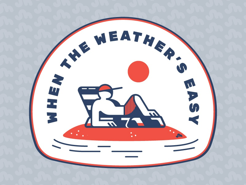 Easy Weather Patch Design lounge lounging chair summer easy weather patch illustration