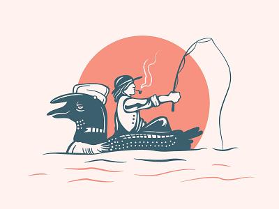 Looney Ride doodle drawing cartoon fishing rod pipe dude fishing boat loon canadiana