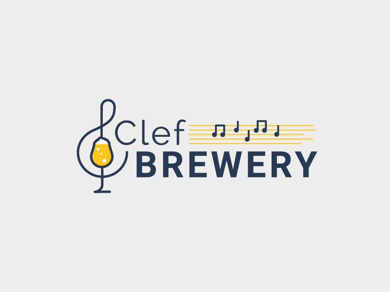 Musical Brewery brewery clef beer music illustration logo