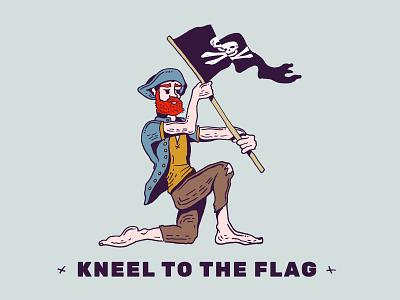 Flag illustration drawing hat beard red kneel kneeling flag pirate