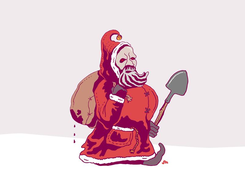 Krampus illustration scary creepy doodle halloween santa krampus