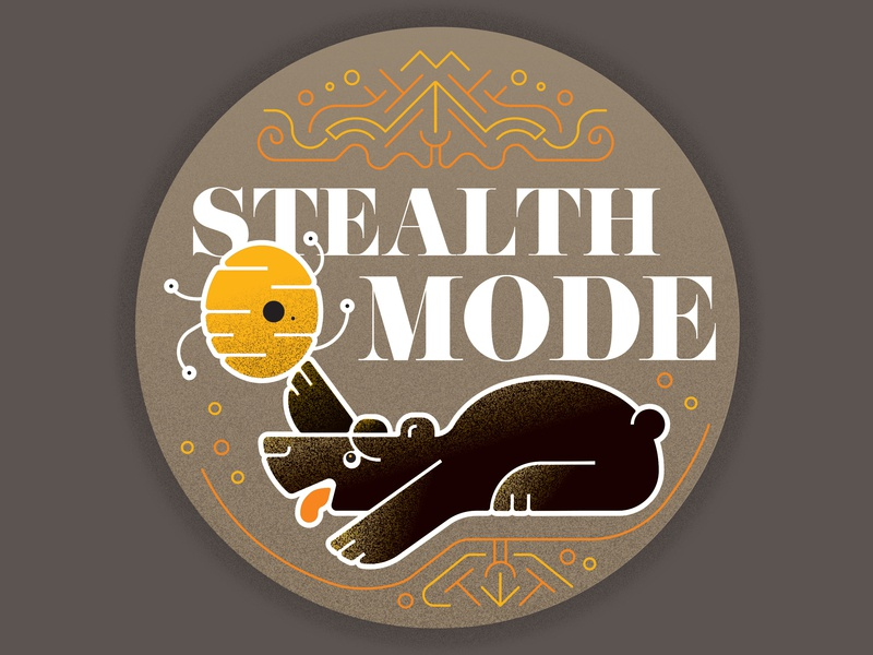 Stealth Mode circle pattern texture illustration badge bees honey stealth stealth mode bear