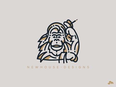 Orangutan typography design artwork geometric pencil monkey ape orangutan bold linework thick lines
