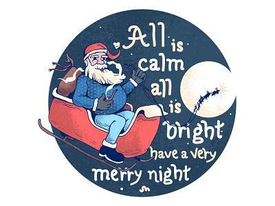 Silent Night sketch gifts pipe smoke drawing handrawn rudolf illustrator illustration silent night christmas sled sleigh santa