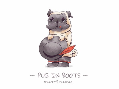 Pug in Boots Commission clean feather hat shrek cute dog character pussinboots illustration pug artwork commissioned