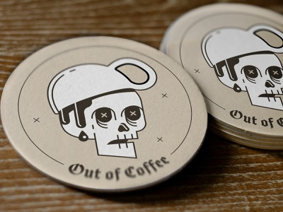 OUT OF COFFEE!! drink coasters contest freebie linework dead hat mug coffee skull sticker mule coaster