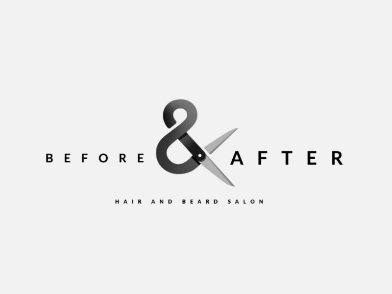Before and After logo concept concept hair salon hair barber logo scissors