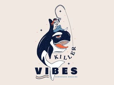 Killer Vibes il drawing doodle vibes design girl fishing whale killer whale illustration