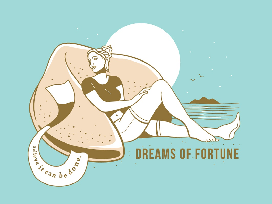 Fortune Cookie dreams collage composition concept design cheesy quote girl illustration fortune cookie beach