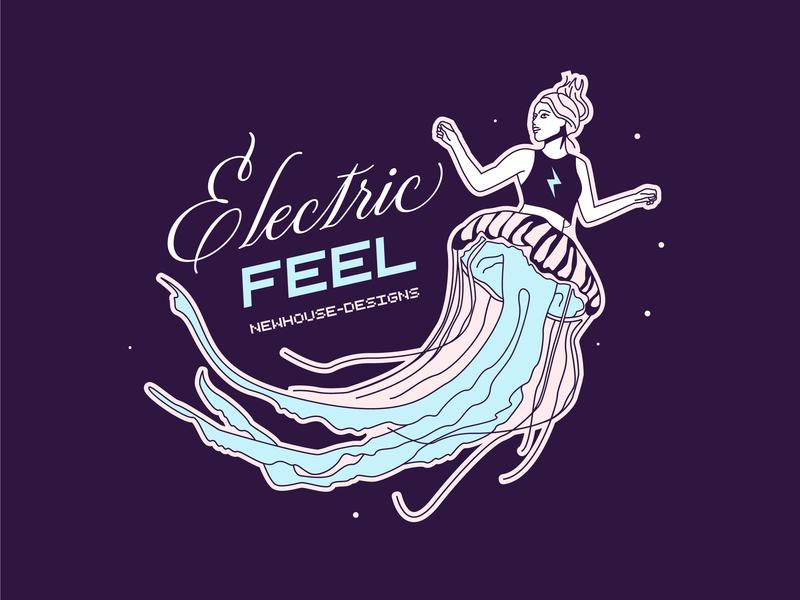 Electric Feel floating dancer bolt lightning electric digital illustration girl jellyfish meduse