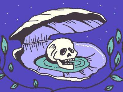 A Rare Gem Detail sketch illustration shell clam skull