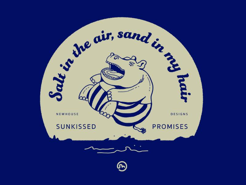 Sunkissed Promises cannonball pool summer hippo illustration design