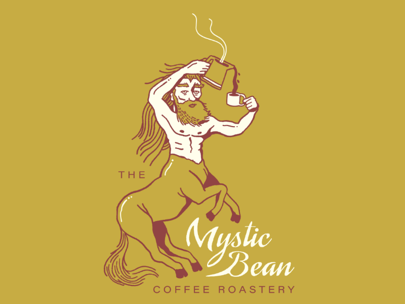 The Mystic Bean illustration design logo mythology centaur coffee