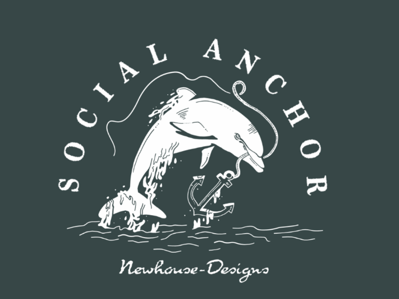 Social Anchor black and white illustration design drawing anchor dolphin social
