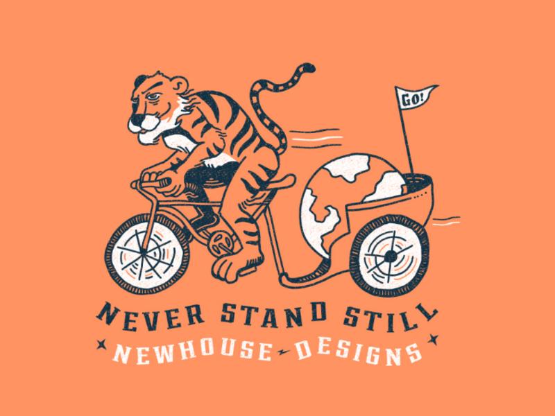 Never Stand Still doodle drawing design ride bike rickshaw world illustration tiger