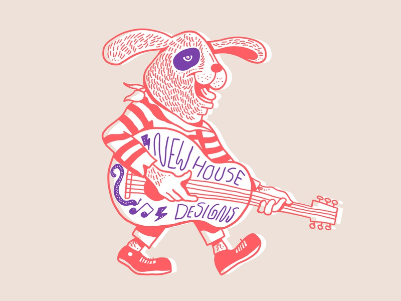 Saturday Doodle pattern stripes bandana design lightning snake music guitar illustration drawing dog