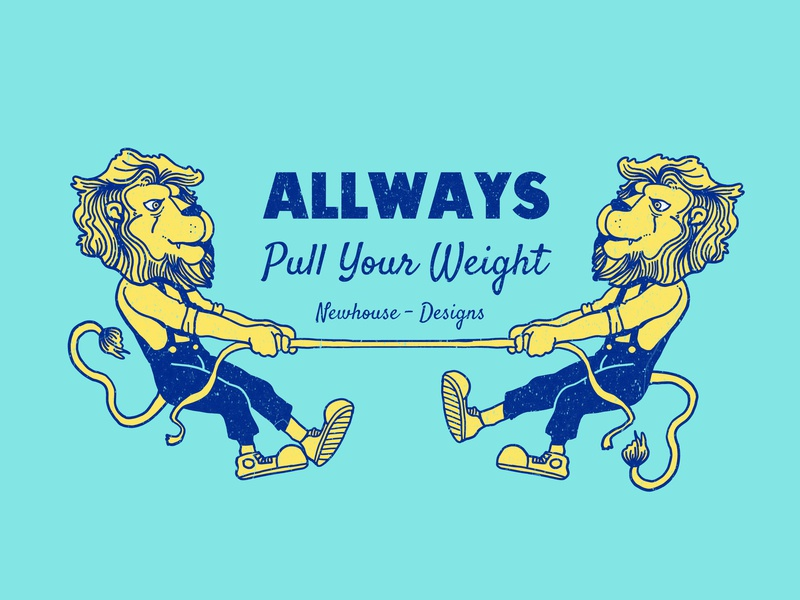 Pulling Your Weight handdrawn linework texture ropes apple pencil art artwork rope design pulling your weight drawing illustration lion rope pulling