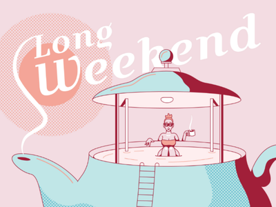 3 Day Weekend linework clean illustration pool summer hot tub tea tea pot