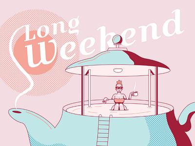 3 Day Weekend linework clean illustration pool summer hot tub tea tea pot