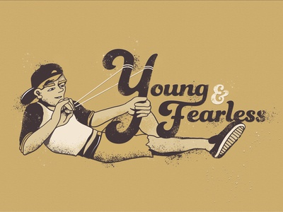 Young & Fearless youth typography design illustration slingshot