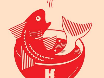 Fishtastic art artwork noodles ramen poke bowl clean illustration fish