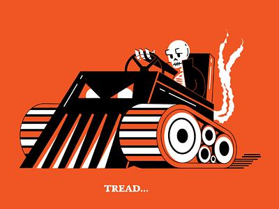 Tread... tank orange halloween illustration skull tread inktober