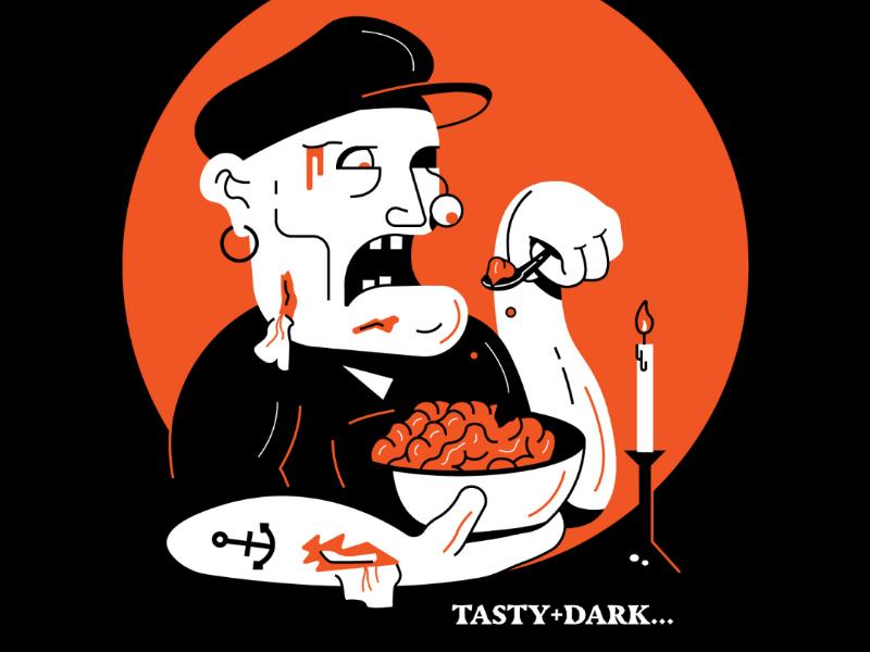 Tasty+Dark... gore brain halloween zombie illustration dark tasty inktober 2019 inktober