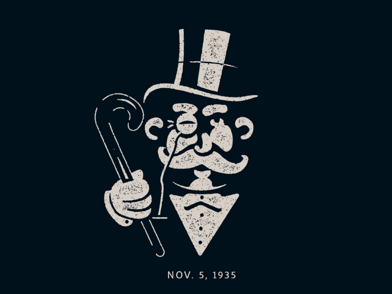 Today in History... boardgame game classic grit texture illustration logo today in history monopoly