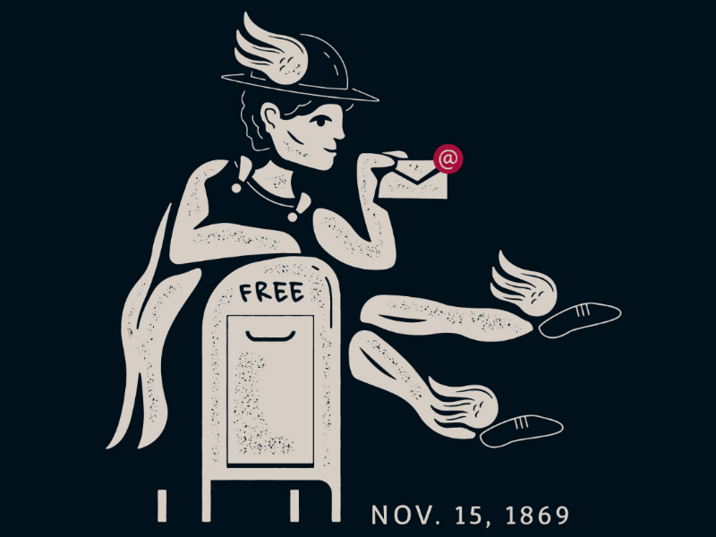 Nov. 15 1869 black and white postal post mailbox mail illustration history wings hermes today in history series