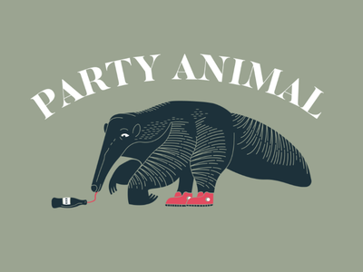 Party Animal christmas party butler font design doodle animal booze anteater illustration party animal party