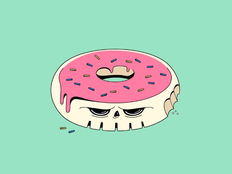 Skullhnut linework graphic sad pink colours cute illustration skull doughnut