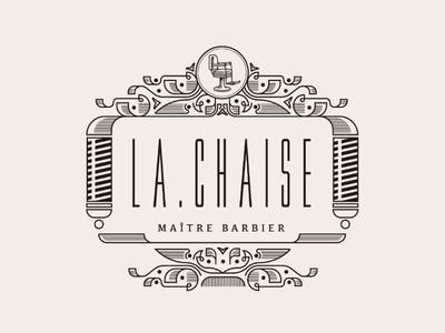 Ornate Barber Logo exploration. vintage barber chair logo design border ornaments ornate