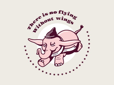 Dumbo doodle pink classic disney flying illustration practise execution doodle elephant dumbo