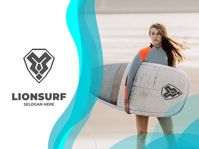 Lionsurf logo ux vector ui typography logo illustration icon design branding app