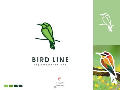 bird line logo ux vector ui typography logo illustration icon design branding app