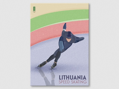 Lithuania speed skating olympics skating figure editorial illustration sports poster