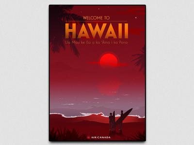 Hawai postcard branding usa illustration editorial photoshop poster travel hawaii