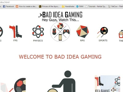 Bad Idea Gaming Website youtube muse webdesign gaming