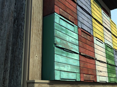 3d Old Wooden Colorful Apiary