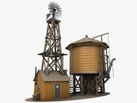 3d Water Tower And Windmill