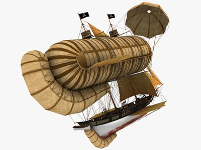 Flying Ship art 3dsmax 3d art 3d steampunk sky boat pirate schooner halcon drachen zeppelin airballoon ballon sailboat fantasy art fantasy ship flying flying ship