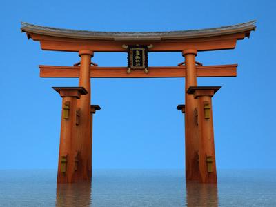 Itsukushima Torii Gate building art 3dsmax 3d art 3d monument historical floating miyajima island shrine shinto gates jinja japanese japan gateway gate torii itsukushima