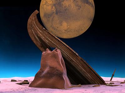 Ancient Sunken Ship art 3d art 3d ufo mystic wreck landscape destroyed cliff planet deepspace old moon mars astronauts boat ship sunken space ancient