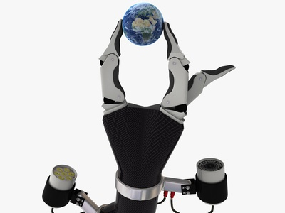 He's Got the Whole World in His Hand light camera prototype futuristic sf characer design fantase art 3dsmax 3d art 3d hand concept concept design concept art concept robotic robot hand world