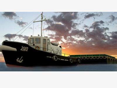 Tug Boat Towing Garbage Barge
