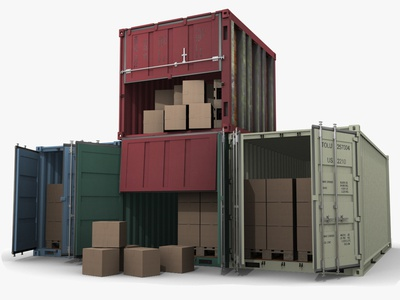 Set 4 Shipping Containers 3d Models