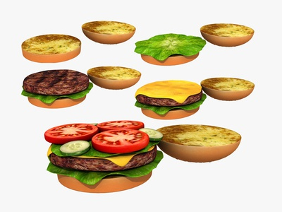 Cheeseburger - 3d Moldel 3dsmax 3d art 3d sandwich junkfood lunch grilled mcdonalds lettuce tomato buns bread cheese beef meat food fast food cheeseburger hamburger burger
